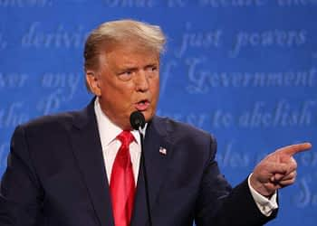 US President Donald Trump participates in the final presidential debate against Democratic presidential nominee Joe Biden at Belmont University on October 22 in Nashville, Tennessee.