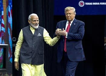 Prime Minister Narendra Modi and US President Donald Trump during the Howdy Modi Community Summit in Houston, Texas, on September 22, 2019.