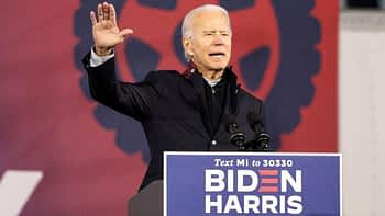 US Democratic presidential candidate Joe Biden speaks during a voter mobilization event at the Michigan State Fairgrounds in Novi, Michigan, October 16, 2020.