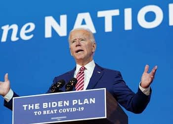 In Picture - US Democratic presidential candidate Joe Biden speaks in Wilmington, Delaware.
