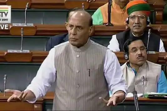 File photo of Rajnath Singh in Lok Sabha